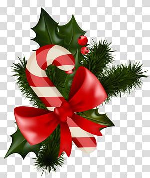 Permen tongkat Mistletoe dekorasi Natal, Permen tongkat Natal dengan Mistletoe, ilustrasi mistletoe tongkat permen png