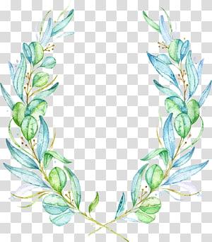 bunga hijau, Cat Air Bunga Lukisan cat air Daun, daun Cat Air png
