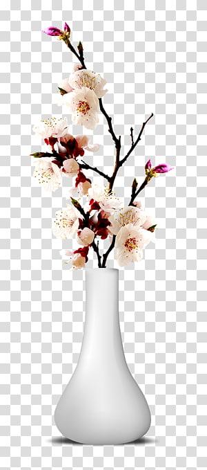 Vas Bunga, Vas Bunga, bunga putih dan ungu dalam vas png