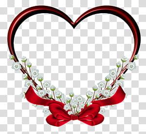 Bingkai hati, Dekorasi Bingkai Hati Merah, ilustrasi hati bunga merah dengan aksen busur png
