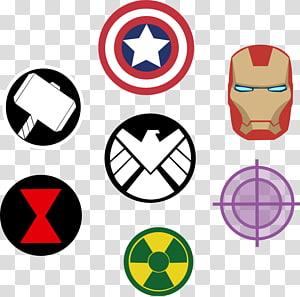 Pemotongan banyak logo karakter Marvel, Thor Clint Barton Hulk Captain Black Widow, simbol png