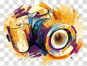 Gambar Kamera, kamera efek cat air, ilustrasi kamera kuning dan ungu PNG clipart
