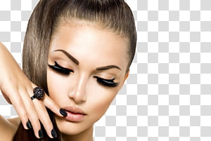 wanita mengenakan cincin hitam permata, ekstensi Bulu Mata Model Kosmetik Rambut, Rias PNG clipart