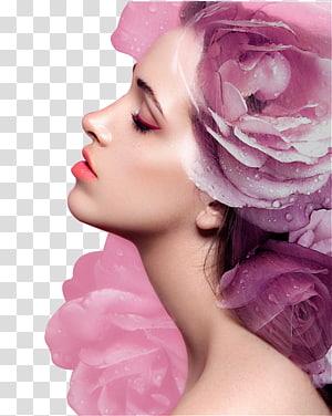Kecantikan Wajah Eye shadow Kosmetik, Riasan Wajah Riasan Wajah Wanita, Wanita dengan ilustrasi mawar merah muda PNG clipart