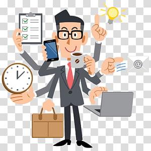 laki-laki berjaket jas memegang gelas dan ilustrasi smartphone, manajer proyek manajemen pebisnis multitasking manusia, pemikir manusia PNG clipart