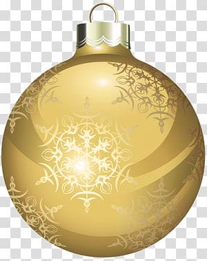 dekorasi perhiasan bunga coklat, ornamen Natal, Bola Natal Emas png