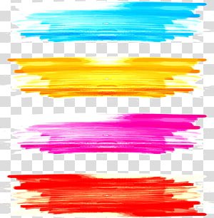 Lukisan cat air Kuas, kuas cat air grafiti, ilustrasi empat macam warna PNG clipart