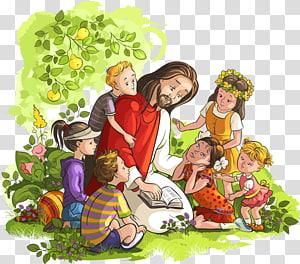 Lukisan digital Yesus Kristus dan balita, Ilustrasi Anak Alkitab, Yesus membaca Alkitab dan Anak-anak png