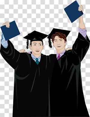 pria mengenakan ilustrasi pakaian akademik, sarjana Gelar Kartun Akademik gaun Wisuda, siswa png