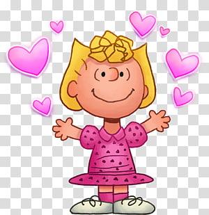 gadis mengenakan gaun merah muda, Sally Brown Snoopy Charlie Brown Lucy van Pelt Linus van Pelt, snoopy png