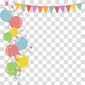 Ilustrasi Pesta Balon Ilustrasi, Bendera perbatasan balon berwarna-warni, ilustrasi balon warna-warni png