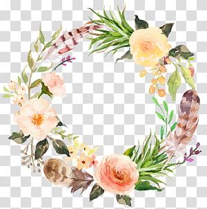 Bunga, karangan bunga bunga gaya estetika Cat Air, lukisan bunga putih dan merah muda png