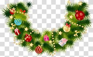 Karangan bunga Natal dengan ornamen, Karangan Bunga Garland Natal, Garland Cabang Pinus Natal dengan Ornamen png