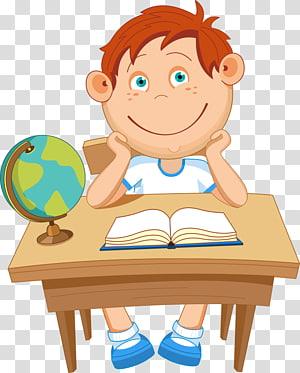 bocah laki-laki duduk di kursi di depan meja dengan buku, Ilustrasi Euclidean School, anak-anak sekolah png
