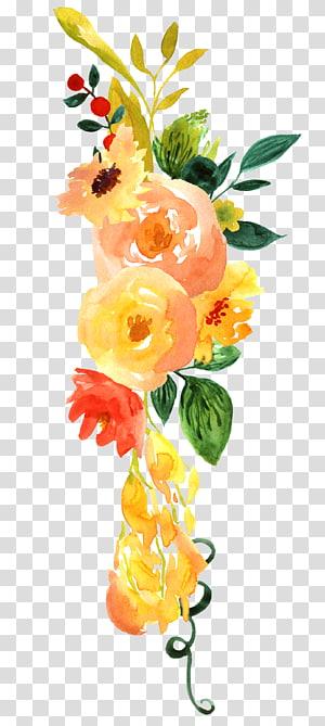 ilustrasi bunga kelopak kuning dan oranye, desain bunga lukisan cat air bunga, cat air pola dekorasi bunga yang dilukis dengan tangan png