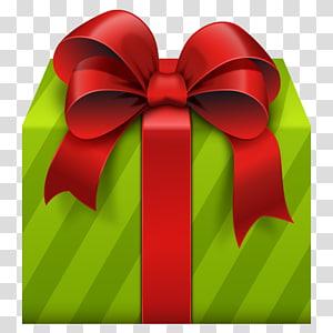 kotak hadiah hijau dan pita merah ilustrasi, Kotak hadiah Natal hadiah Natal, Kotak Hadiah Hijau dengan Red Bow png