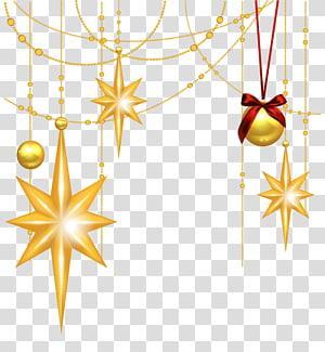perhiasan dan ilustrasi ornamen bintang natal, Bintang Betlehem Natal, Bintang Emas Natal dan Ornamen png