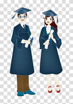 wanita dan pria mengenakan ilustrasi pakaian akademik, upacara Wisuda Mahasiswa gelar Akademik, lulusan png