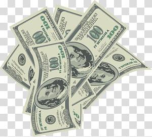 enam ilustrasi uang kertas 100 dolar AS, Uang, Uang jatuh png