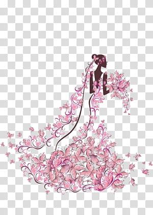 Undangan Pernikahan Ilustrasi Pengantin, Pengantin memegang bunga, wanita dalam lukisan gaun bunga png