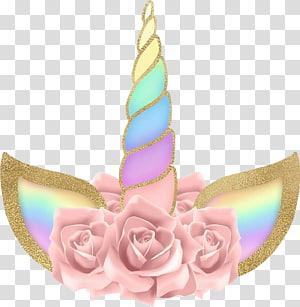 tanduk unicorn bunga merah muda dan beraneka warna, Unicorn makhluk legendaris, Dongeng, unicorn png