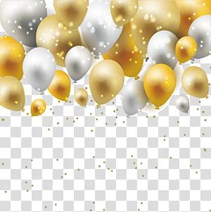 Bahan Pola Kuning, Mimpi perbatasan balon emas dan perak, grafis balon coklat dan putih png