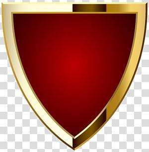 Label Logo, Lencana Merah, ilustrasi perisai merah dan emas PNG clipart