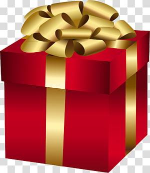 ilustrasi kotak hadiah merah dan emas, hadiah Natal Hari Natal, Kotak Hadiah Merah Besar dengan Busur Emas png