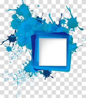Ikon, Perbatasan percikan tinta, percikan cat biru dan kuning png