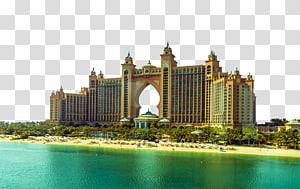 bangunan beton krem dekat badan air, Atlantis, Hydropolis Palm Burj Al Arab Palm Jumeirah Hotel, pemandangan Dubai png