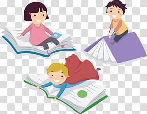 tiga anak di atas ilustrasi buku, Kertas Anak, Anak-anak belajar png