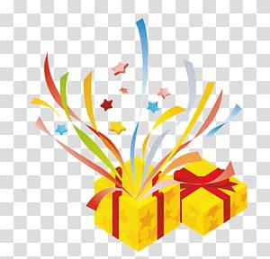dua hadiah kuning, file Hadiah Kejutan Komputer, kotak hadiah terbuka png