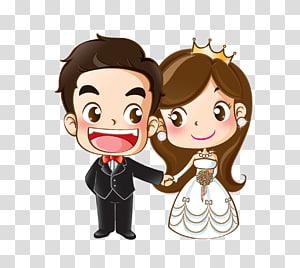 Undangan pernikahan Gambar Kartun Pernikahan, Kartun pengantin digital, ilustrasi digital pengantin png
