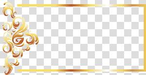 Pola Rekreasi Kuning, perbatasan Garis Emas Eropa, bingkai digital floral gradien kuning dan coklat.format png