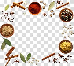Rempah-rempah bumbu, rempah-rempah yang bisa dimakan, berbagai macam rempah-rempah yang dibentuk menjadi bingkai persegi png