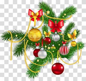 ilustrasi perak, emas, dan pernak-pernik merah, hiasan Natal hiasan Natal Natal dan musim liburan Pohon Natal, Dekorasi Natal PNG clipart