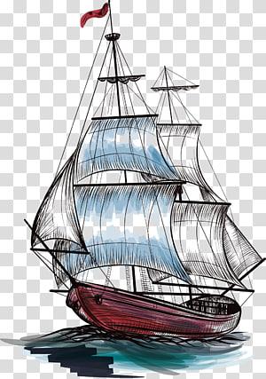 ilustrasi kapal layar merah dan hitam, Kapal layar Perahu layar Kapal layar, layar berlayar png