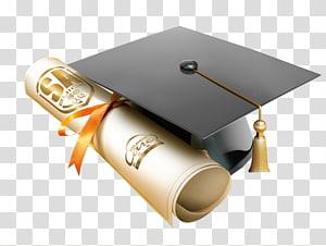 papan mortar dan ilustrasi gulir krem, topi akademik Wisuda Bonnet, topi kelulusan Dr. png