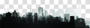 pencakar langit siluet hitam dan putih, siluet kota PNG clipart