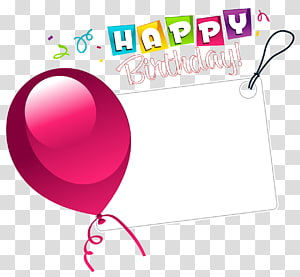 Keinginan Ulang Tahun, Stiker Selamat Ulang Tahun dengan Balon Merah Muda, latar belakang biru dengan hamparan selamat ulang tahun png