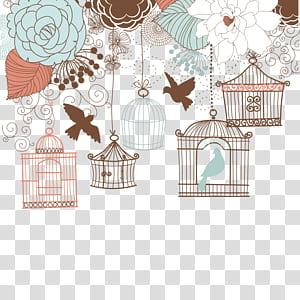 Undangan pernikahan Birdcage Ilustrasi, Bunga retro yang dilukis dengan tangan dan sangkar burung, ilustrasi burung dan sangkar burung png