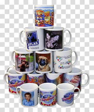 aneka-warna stackable mug keramik ilustrasi, percetakan mug iklan bisnis printer dye-sublimation, mug PNG clipart