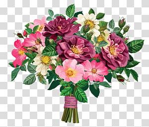Buket bunga, Rose Bouquet, ilustrasi buket bunga anemon merah muda, merah, dan putih png