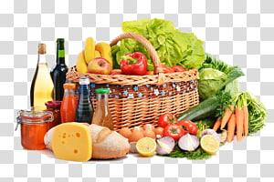 berbagai macam sayuran dan botol rempah-rempah, toko kelontong makanan kesehatan supermarket masakan vegetarian, keranjang buah-buahan dan sayuran png