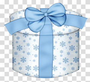 kotak hadiah bunga bulat putih dan biru, Kotak Hadiah Bulat Biru, Putih dan Biru png