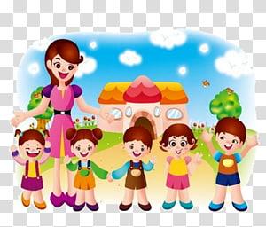 wanita dan anak-anak yang tersenyum, Kartun Guru Siswa Estudante, anak-anak TK png
