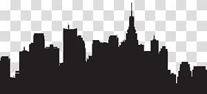 ilustrasi bangunan kota, Siluet Skyline Kota New York, Siluet Kota Besar PNG clipart