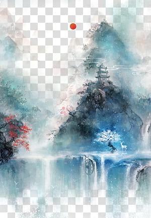 Seni Cina Seni Asia Lukisan Cina Ilustrasi, Kuno cat air yang indah ilustrasi, badan air dikelilingi oleh pohon dekat dengan kastil lukisan png