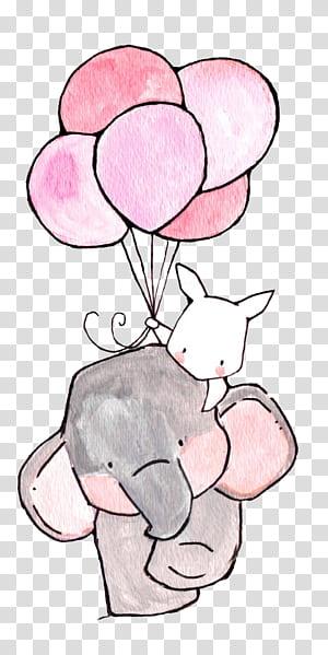 Paper Nursery Drawing Printing Ilustrasi, Gajah dan Kelinci Putih, gajah dan kelinci memegang karya seni balon png