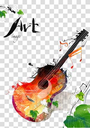 ilustrasi gitar merah dan kuning, Gitar Musik, gitar png
